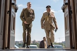 Marine Corps Gen. Joseph F. Dunford, chairman of the Joint Chiefs of Staff, walks with Air Chief Marshal Sir Stuart Peach, chief of the Defense Staff of the United Kingdom, at the Pentagon, Aug. 26, 2016. DoD photo by Navy Petty Officer 2nd Class Dominique A. Pineiro