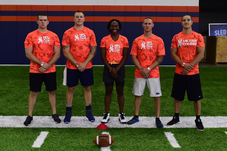 Team Buckley stands together during a military training camp at the Denver Broncos' University of Colorado Health Training Center Fieldhouse in Englewood, Colo., August 25, 2016. The five-person team participated in five head-to-head skill challenges and won the overall competition. (U.S. Air Force photo by Airman 1st Class Gabrielle Spradling/Released)