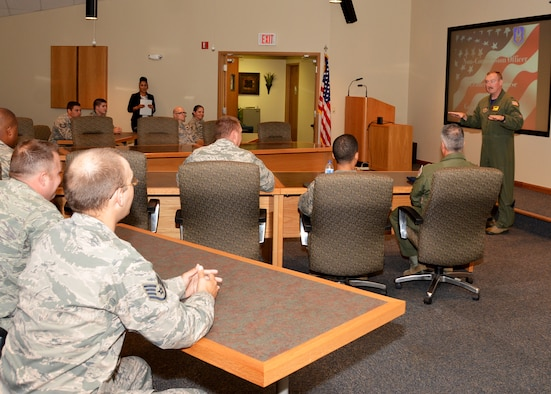 Col. Doug Gullion, 507th Air Refueling Wing commander, speaks to the enlisted leaders upon their graduation from NCO Leadership Development Course Aug. 12, 2016, at the Hill Conference Center at Tinker Air Force Base, Okla. Twenty-five students attended the week-long course, designed to teach them leadership skills for tough subjects in the workplace.