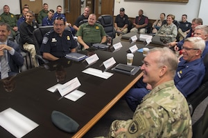 Gen. Lori Robinson, NORAD and USNORTHCOM Commander, is briefed about the Southwest Border Region by members of the Department of Homeland Security, the U.S. Customs and Border Protection and Joint Task Force North at the CBP Air and Marine Operations in San Diego, Calif., Aug. 24, 2016. (NORAD and USNORTHCOM Courtesy Photo)