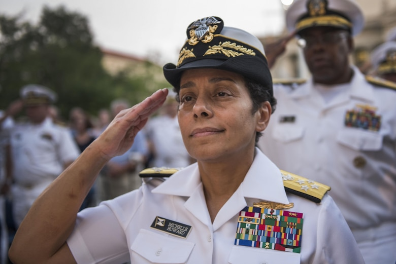 WASHINGTON (July 22, 2014) Adm. Michelle Howard, Vice Chief of Naval Operations, salutes during the Concerts on the Avenue series at the U.S. Navy Memorial. Concerts on the Avenue is a free event open to the public where the U.S. Navy Band performs a set of various traditional military tunes as well as popular songs. Howard is the first woman to achieve the rank of admiral. (U.S. Navy photo by Mass Communication Specialist 2nd Class Jonathan Pankau/Released)