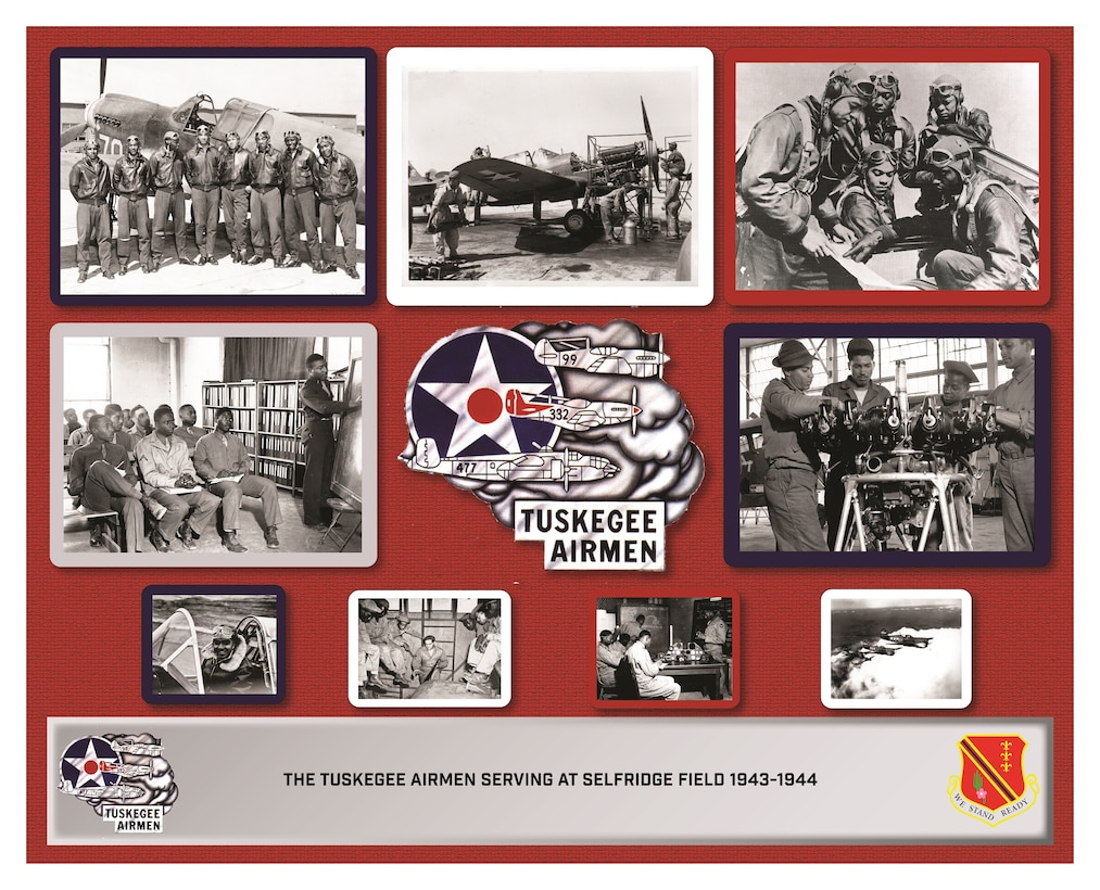 Poster honors the heritage of the Tuskegee Airmen who served at Selfridge ANGB, Michigan, during World War II. (U.S. Air National Guard illustration by John M. Brandenburg)