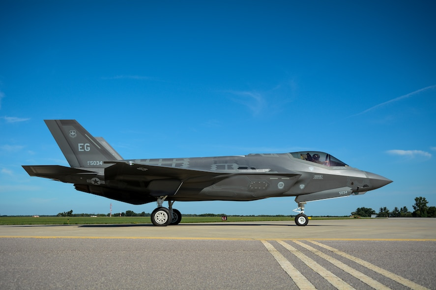 A 33rd Fighter Wing F-35A sits on the line at Volk Field Air National Guard Base, Camp Douglas, Wis., Aug. 23, 2016. The Volk Field Combat Readiness Training Center hosted aircraft and personnel from multiple National Guard, Air Force and Navy units as part of the two-week Northern Lightning combat training exercise. (U.S. Air National Guard photo by Senior Airman Kyle Russell)