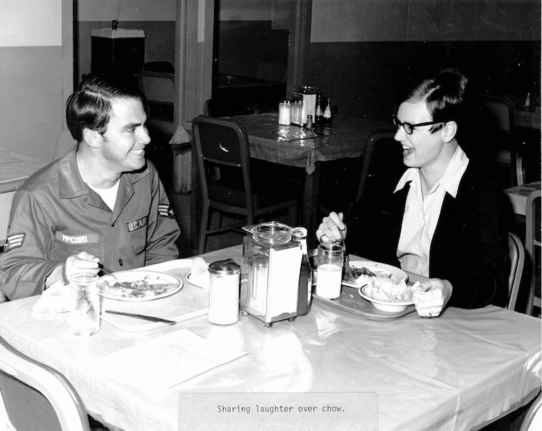Airmen eat during their assignment to leadership school in 1970 at the I.G. Brown Training and Education Center on McGhee Tyson Air National Guard Base in Louisville, Tenn. Twenty-two Women in the Air Force, or WAFs, were in the class. (U.S. Air National Guard photo)