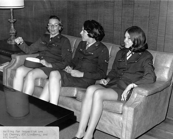 Sgt. Lucis A. Cherry, Airman 1st Class P. Linberg and Airman 1st Class A. Kraft, wait for inspection during leadership school. The airmen were among 22 Women in the Air Force, or WAFs, in 1970 at the I.G. Brown Training and Education Center on McGhee Tyson Air National Guard Base in Louisville, Tenn. (U.S. Air National Guard photo)