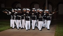 the U.S. Marine Corps ceremonial bands and drill team perform for public viewing, August 26, 2016. The guest of honor for the event was Secretary of Defense Ash Carter. (U.S. Marine Corps Courtesy Photo/ Released)