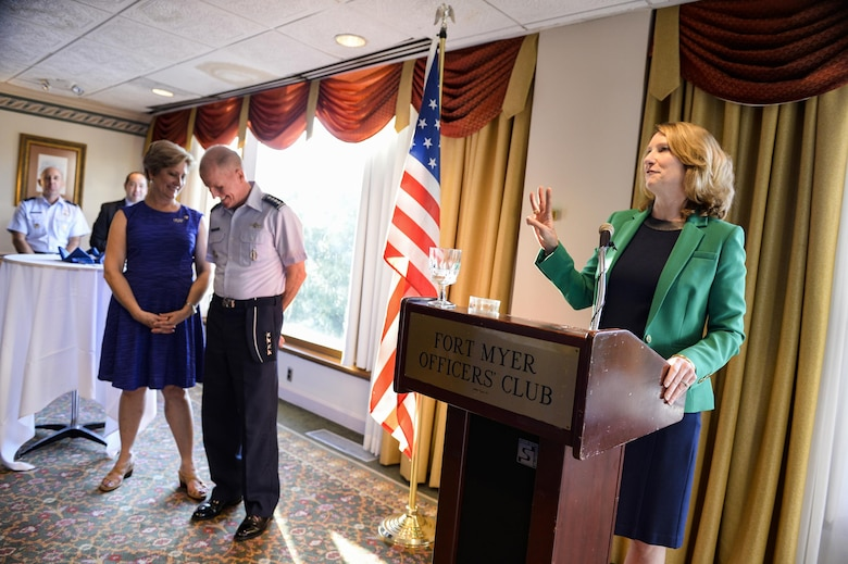 Air Force Undersecretary Lisa S. Disbrow gives remarks as Gen. Stephen W. Wilson is welcomed as the service's new vice chief of staff at a reception Aug. 26, 2016, at the Fort Myer Officer's Club, Va. (U.S. Air Force photo/Tech. Sgt. Joshua L. DeMotts)