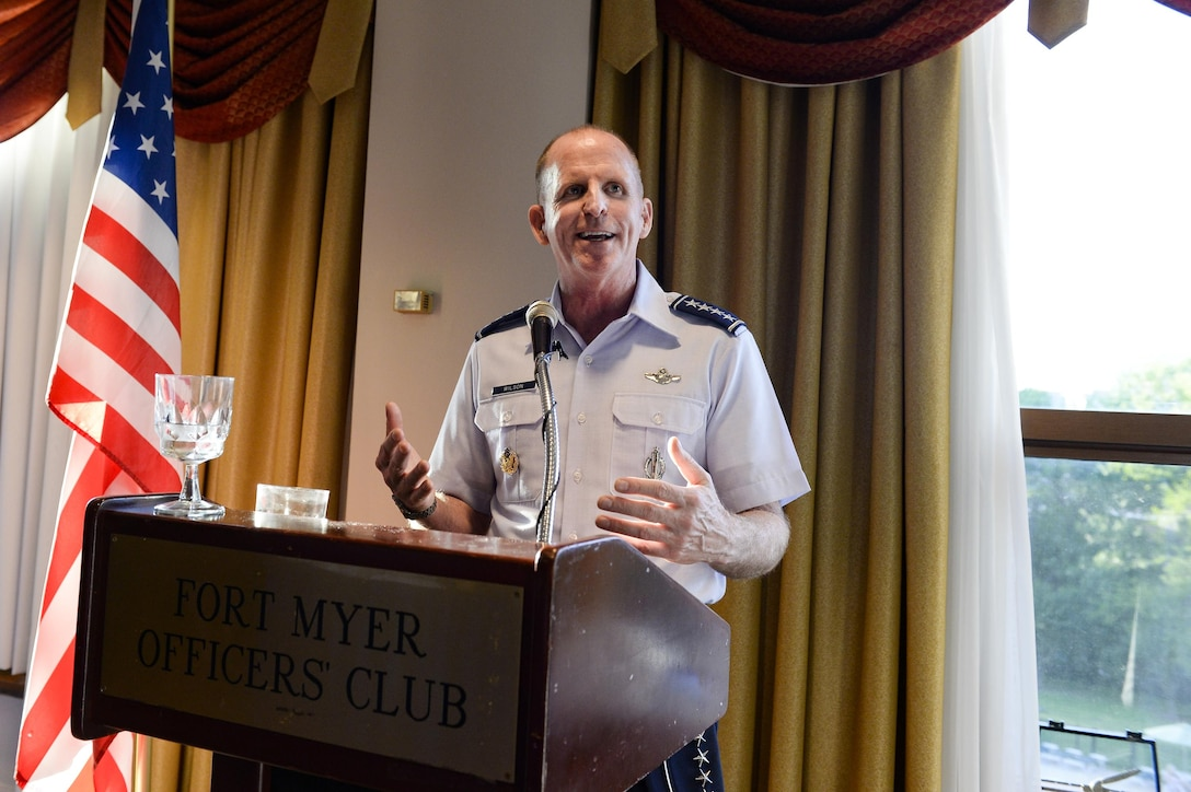 Gen. Stephen W. Wilson shares his thoughts at a reception welcoming him as the service's new vice chief of staff Aug. 26, 2016, at the Fort Myer Officer's Club, Va. (U.S. Air Force photo/Tech. Sgt. Joshua L. DeMotts)