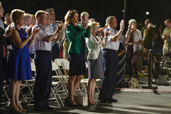 Nancy Wilson, Vice Chief of Staff Gen. Stephen W. Wilson, Air Force Undersecretary Lisa S. Disbrow, Dawn Goldfein and Chief of Staff Gen. Dave Goldfein applaud the U.S. Air Force Band's performance held at the Air Force Memorial to honor Vietnam War veterans Aug. 26, 2016, in Arlington, Va. Prior to attending the concert, Disbrow and Goldfein welcomed Wilson as the service's new vice chief of staff at a reception in the Fort Myer Officer's Club. (U.S. Air Force photo/Tech. Sgt. Joshua L. DeMotts)
