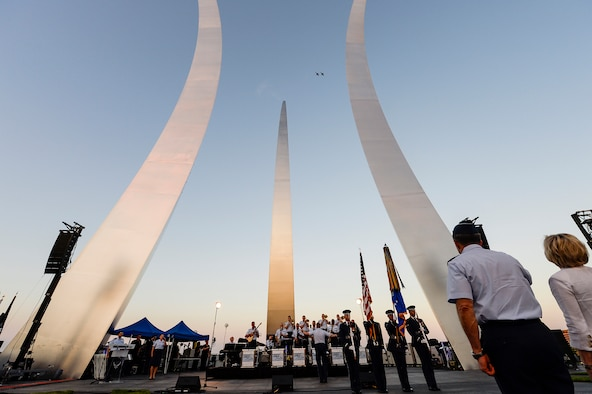 A T-38 Talon formation flyover kicks off a public U.S. Air Force Band concert at the Air Force Memorial to honor Vietnam War veterans Aug. 26, 2016, in Arlington, Va. Prior to attending the concert, Air Force Undersecretary Lisa S. Disbrow and Chief of Staff Gen. Dave Goldfein welcomed Gen. Stephen W. Wilson as the service's new vice chief of staff at a reception in the Fort Myer Officer's Club. (U.S. Air Force photo/Tech. Sgt. Joshua L. DeMotts)
