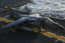 ABOARD USS BONHOMME RICHARD (LHD-6), At Sea – A Marine Corps AV-8B Harrier jet with Marine Medium Tiltrotor Squadron 262 (Reinforced), 31st Marine Expeditionary Unit, prepares for takeoff during flight operations aboard the USS Bonhomme Richard (LHD-6), Aug. 27, 2016. The 31st MEU is the Marine Corps' only continuously forward-deployed Marine Air-Ground Task Force, and combines air-ground-logistics into a single team capable of addressing a range of military operations in the Asia-Pacific region, from force projection and maritime security to humanitarian assistance and disaster relief. (U. S. Marine Corps photo by Sgt. Tiffany Edwards/released)