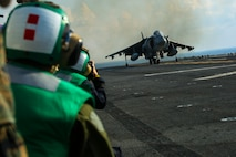 ABOARD USS BONHOMME RICHARD (LHD-6), At Sea – A Marine Corps AV-8B Harrier jet with Marine Medium Tiltrotor Squadron 262 (Reinforced), 31st Marine Expeditionary Unit, lands during flight operations aboard the USS Bonhomme Richard (LHD-6), Aug. 27, 2016. The 31st MEU is the Marine Corps' only continuously forward-deployed Marine Air-Ground Task Force, and combines air-ground-logistics into a single team capable of addressing a range of military operations in the Asia-Pacific region, from force projection and maritime security to humanitarian assistance and disaster relief. (U. S. Marine Corps photo by Sgt. Tiffany Edwards/released)