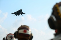 ABOARD USS BONHOMME RICHARD (LHD-6), At Sea – A Marine Corps AV-8B Harrier jet with Marine Medium Tiltrotor Squadron 262 (Reinforced), 31st Marine Expeditionary Unit, prepares to land during flight operations aboard the USS Bonhomme Richard (LHD-6), Aug. 27, 2016. The 31st MEU is the Marine Corps' only continuously forward-deployed Marine Air-Ground Task Force, and combines air-ground-logistics into a single team capable of addressing a range of military operations in the Asia-Pacific region, from force projection and maritime security to humanitarian assistance and disaster relief. (U. S. Marine Corps photo by Sgt. Tiffany Edwards/released)