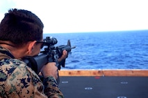 ABOARD USS BONHOMME RICHARD (LHD-6), At Sea (Aug. 26, 2016) – Lance Cpl. Dallas Williams, an engineer with Combat Logistics Battalion 31, 31st Marine Expeditionary Unit, aims an M16-A4 service rifle during live-fire training aboard the USS Bonhomme Richard (LHD-6), at sea, Aug. 26, 2016. The 31st MEU combines air-ground-logistics into a single unit with one commander, and is task-organized to address a wide variety of military operations in the Asia-Pacific region – from force projection and maritime security to humanitarian assistance and disaster relief in cooperation with host countries and partner militaries. (U.S. Marine Corps photo by Lance Cpl. Jay A. Parks/ Released)