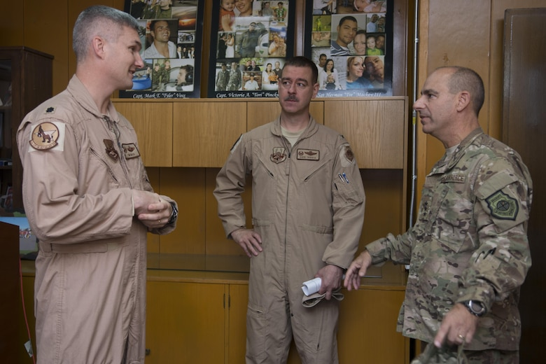 U.S. Air Force Lt. Gen. Jeffrey Harrigian, U.S. Air Forces Central Command commander is briefed by Lt. Col Timothy Mach, 22nd Expeditionary Air Refueling Squadron commander, on the day-to-day operations at Incirlik Air Base, Turkey, Aug. 28, 2016. Harrigian learned about the base's capabilities and visited Airmen deployed here in support of Operation Inherent Resolve. (U.S. Air Force photo by Staff Sgt. Ciara Gosier)