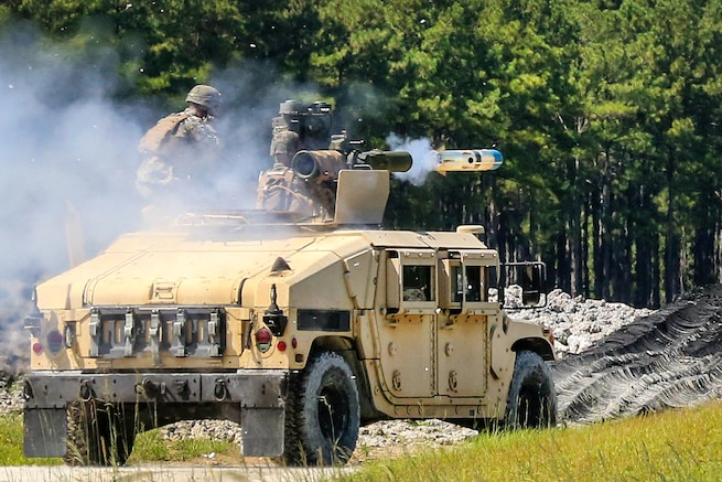 Marine Corps gunners fire a tube-launched, wire-guided missile during a battle drill at Camp Lejeune, N.C., Aug. 23, 2016. The Marines, assigned to 3rd Battalion, 6th Marine Regiment, performed the drill using the M41A4 missile system that can be effective up to 4,000 meters. Marine Corps photo by Lance Cpl. Jon Sosner