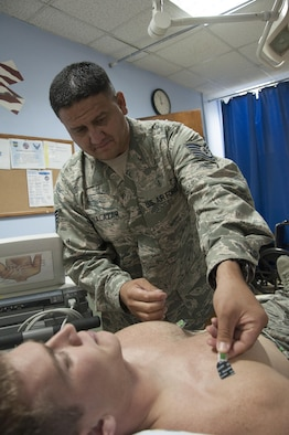 Tech. Sgt. Raul Salazar, the clinical NCOIC with the 386th Expeditionary Medical Group, preps a patient for an electrocardiography Aug. 4, 2016 at an undisclosed location in Southwest Asia.(U.S. Air Force photo by Master Sgt. Anika Jones/Released)