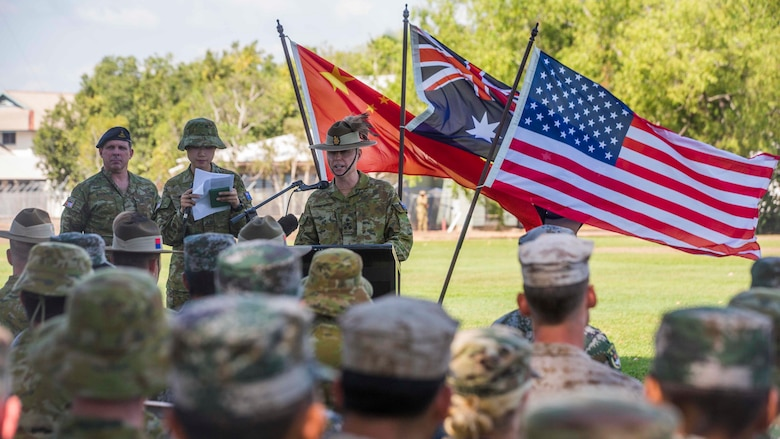 Brigadier Damian Cantwell, the Exercise Kowari commander, speaks to staff, supporters, and participants of Exercise Kowari at Larrakeyah Barracks, Northern Territory, Australia, August 26, 2016. The purpose of Exercise Kowari is to enhance the United States, Australia, and China's friendship and trust, through trilateral cooperation in the Asia-Pacific and Indian Ocean Rim regions.