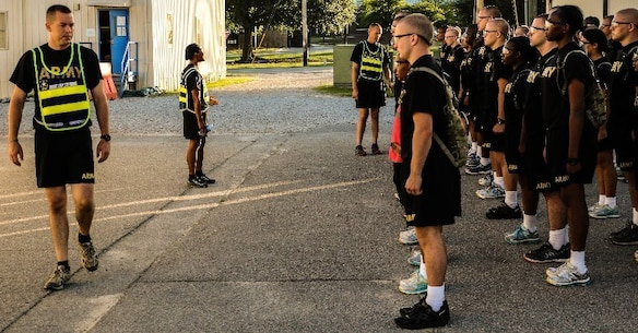 FORT JACKSON, S.C. – Drill sergeants, Larry Davis (left), Felicia Evans (middle), and Andrew Hamilton (right) conduct instruction during morning formation on Aug. 22, 2016.  All three drill sergeants are part of Foxtrot Company, 1-34 Infantry Regiment, currently training Soldiers at Fort Jackson, S.C. (U.S. Army Reserve photo by Sgt. Michael Adetula, 206th Broadcast Operations Detachment)