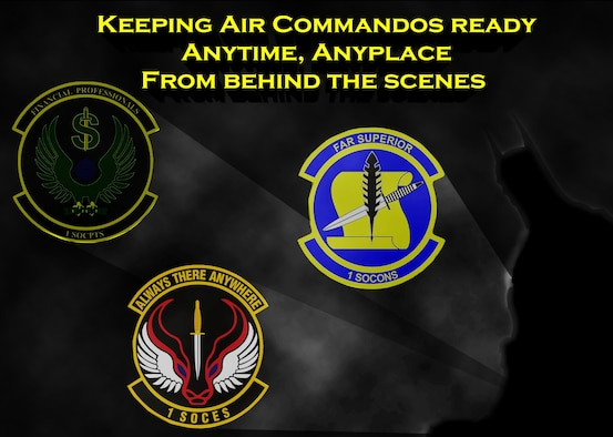 The combined efforts of the 1st Special Operations Civil Engineering, Comptroller and Contracting Squadron are often not recognized for their teamwork that takes place behind the scenes. They are responsible for keep the base equiped and able to provide combat ready forces anytime, anyplace. (U.S. Air Fore graphic by Senior Airman Andrea Posey)