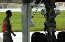 U.S. Air Force Staff Sgt. Matthew Helms, a dedicated crew chief assigned to the 509th Aircraft Maintenance Squadron, conducts pre-flight inspections on a B-2 Spirit aircraft Aug. 24, 2016 at Andersen Air Force Base, Guam. Bomber operations provide a visible demonstration of the U.S. ability to project power globally and respond to any potential crisis or challenge. (U.S. Air Force photo by Senior Airman Jovan Banks)