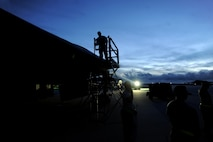 Airmen assigned to the 509th Aircraft Maintenance Squadron deployed from Whiteman Air Force Base, Mo., perform maintenance on a B-2 Spirit Aug. 24, 2016 at Andersen Air Force Base, Guam. U.S. Strategic Command forces operate 24-hours-a-day, seven-days-a-week detecting and deterring strategic attack against the U.S. and our allies. (U.S. Air Force photo by Senior Airman Jovan Banks)