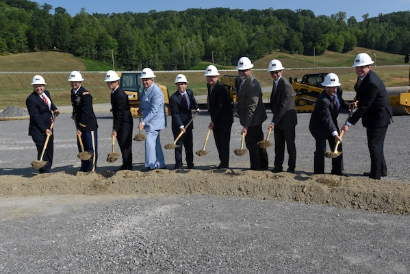 Distinguished officials take part in the groundbreaking of the new Construction Support Building at the Y-12 National Security Complex in Oak Ridge, Tenn., Aug. 25, 2016. The U.S. Army Corps of Engineers Nashville District is managing the construction of the building, which is part of the larger Uranium Processing Facility project.