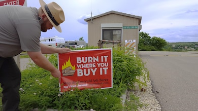 """Remember to get your firewood locally near the campground or use certified pest free firewood. Remember """"Buy It Where You Burn It."""""""