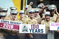 Reserve Marines cheer at NBC's Today Show in New York, Aug. 29, 2016, to mark the Marine Corps Reserve's centennial anniversary. The celebration brings awareness of the Reserve's role as crisis response and expeditionary forces, ready to augment the active Marine Corps component.