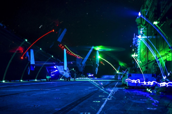 An MV-22 Osprey aircraft sits on the flight deck of the amphibious assault ship USS Boxer in the Pacific Ocean, Aug. 26, 2016. The Boxer is operating in the U.S. 3rd Fleet area of operations. The Osprey is assigned to the 13th Marine Expeditionary Unit. Navy photo by Petty Officer 3rd Class Michael T. Eckelbecker