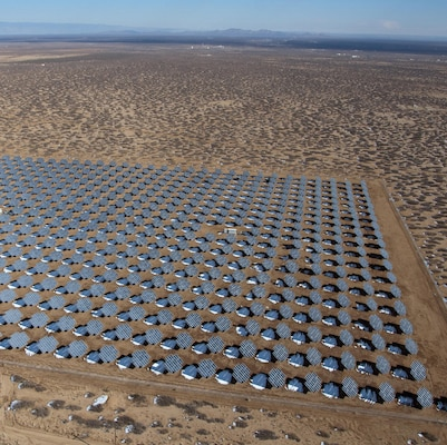 This aerial view of the solar photovoltaic array at White Sands Missile Range, N.M. was taken Jan. 8, 2013. The panels cover 42 acres and provide more than 4 megawatts of electricity to the base. (Photo courtesy of Solaria)
