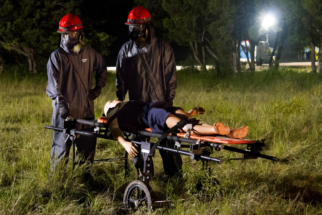 Soldiers with the 172nd Hazard Response Company from Fort Riley, Kansas carry a patient to a decontamination site Aug. 25, 2016 at Fort Hood, Texas during Exercise Sudden Response 16. The weeklong exercise was a key training event for the 172nd HR Co. and various other units within Joint Task Force Civil Support, a rapidly deployable force of more than 5,000 service members from across the country who are specially trained and equipped to provide life-saving assistance in the event of chemical, biological, radiological or nuclear disasters in the U.S. (U.S. Army photo by Sgt. Marcus Floyd, 13th Public Affairs Detachment)