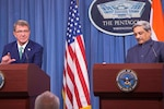 Defense Secretary Ash Carter and Indian Defense Minister Manohar Parrikar hold a press conference at the Pentagon, Aug. 29, 2016. DoD photo by Navy Petty Officer 1st Class Tim D. Godbee