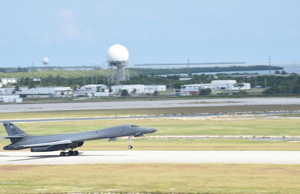A B-1B Lancer from the Air Force's 9th Bomb Squadron, out of Dyess Air Force Base, takes off at Naval Air Station Key West's Boca Chica Field Aug. 23, 2016, in support of Joint Interagency Task Force-South's mission of detection and monitoring of illicit trafficking. U.S. Air Forces Southern increased its support to JIATF South over the past week to include KC-135s, KC-10s, HC-130s, DH-8s, B-1Bs, B-52Hs, E-8C JSTARS, RQ-4, as well as space and cyber capabilities to demonstrate multi-domain operations. Multi-domain operations involve integrating the vastness of tactical air, search & rescue, ISR, cyber, airborne command & control and space capabilities to provide a complete picture to a joint or combined command. Activities such as this provide valuable command and control training in real-world operations. The aircrews gain valuable experience integrating with intelligence agencies, law enforcement agencies,  partner Nations, U.S. Navy and Customs and Border Protection P-3s, U.S. Coast Guard vessels, joint headquarters such as JIATF-South, and other regional assets. (U.S. Navy Photo by Mass Communication Specialist 2nd Class Cody R. Babin/Released)