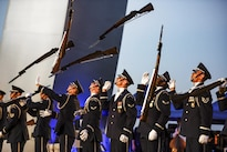 The Air Force Honor Guard Drill Team performs at the Air Force Memorial in Arlington, Va., Aug. 26, 2016, to honor Vietnam War veterans. Air Force photo by Tech. Sgt. Joshua L. DeMotts