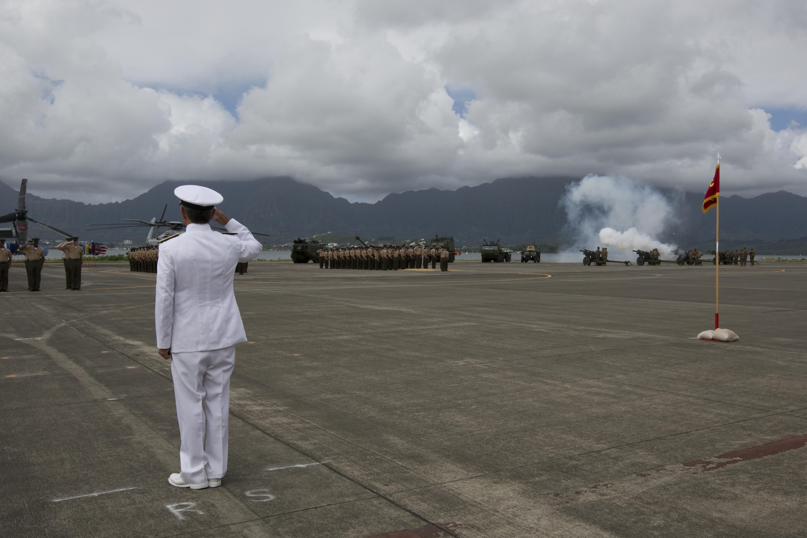 Adm. Harry B. Harris, commander, U.S. Pacific Command, is rendered honors by members of U.S. Marine Corps Forces, Pacific during a change of command ceremony at Marine Corps Base Hawaii, Aug. 26, 2016. Harris presided over the change of command from Lt. Gen. John A. Toolan to Lt. Gen. David H. Berger. (U.S. Marine Corps photo by Lance Cpl. Matthew Casbarro/Released)