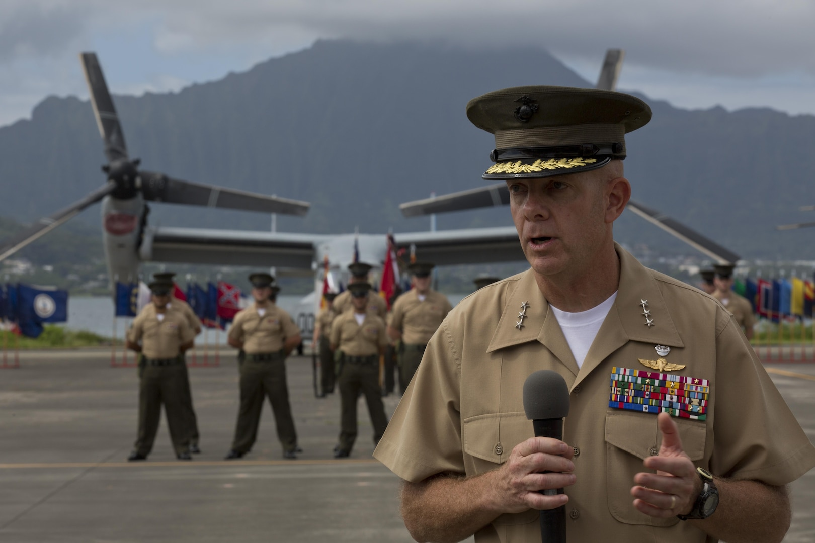 Lt. Gen. David H. Berger, commander, U.S. Marine Corps Forces, Pacific, speaks during a change of command ceremony at Marine Corps Base Hawaii, Aug. 26, 2016. During the ceremony, Lt. Gen. John A. Toolan relinquished command to Berger. (U.S. Marine Corps photo by Lance Cpl. Matthew Casbarro/Released)