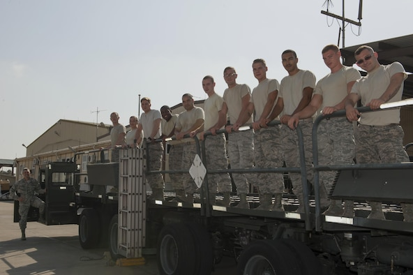U.S. Air Force Airmen from the 728th Air Mobility Squadron stand on a K-Loader, while their commander Lt. Col. Nathan Mansfield stands next to it Aug. 25, 2016, at Incirlik Air Base Turkey.  K-Loaders are used to upload and off load cargo from aircraft and have a load capacity of up to 44,000 pounds. (U.S. Air Force photo by Staff Sgt. Jack Sanders)