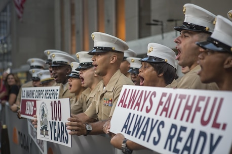 Reserve Marines cheer outside of the Today Show at Rockefeller Center, during the celebration of the U.S. Marine Corps Reserve Centennial, Aug. 29, 2016. The Marines are commemorating 100 years of rich history, heritage, esprit de corps, and a bond with not only New York City but with all communities across the U.S. The celebration brings awareness to the Reserve's essential role as a crisis response force and expeditionary force in readiness that is always prepared to augment the active component. (U.S. Marine Corps photo by Sgt. Sara Graham)