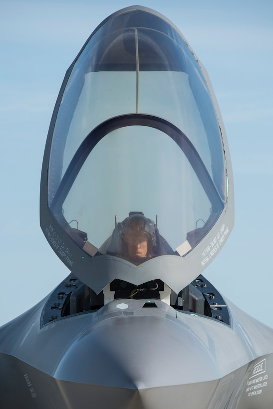 Lt. Col. Brad Bashore, 58th Fighter Squadron commander, prepares to take off in an F-35A during exercise Northern Lightning Aug. 26, 2016, at Volk Field, Wis. Northern Lightning is a joint total force exercise between the Air National Guard, Air Force and Navy conducting offensive counter air, suppression and destruction of enemy air defense and close air support. (U.S. Air Force photo by Senior Airman Stormy Archer)