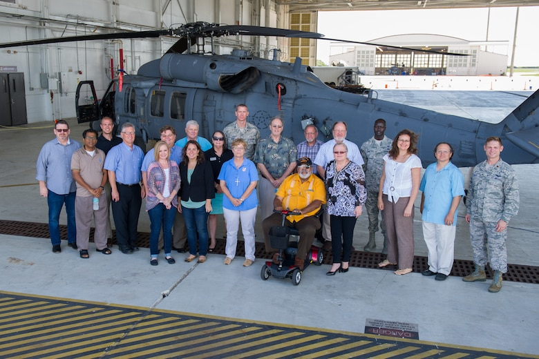 More than 20 local Space Coast clergy members pose for a photograph during Clergy Appreciation Day Aug. 29, 2016, at Patrick Air Force Base, Fla. The guests were provided with a spiritual seminar hosted by the 45th Space Wing and the 920th Rescue Wing where they learned more about both missions and the Airmen who carry them out. (U.S. Air Force photo/Benjamin Thacker)
