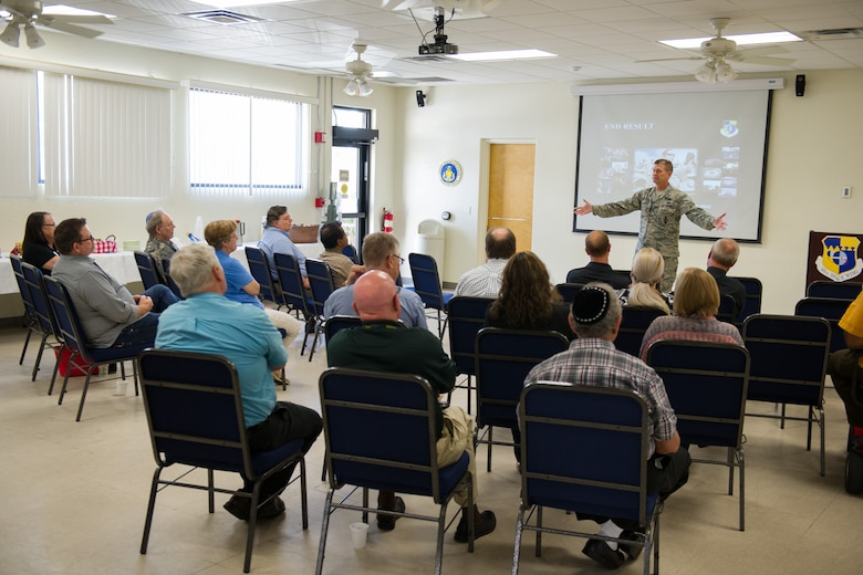 Brig. Gen. Wayne Monteith, 45th Space Wing commander, provides local clergy members with the 45th Space Wing mission brief at the Chapel during Clergy Appreciation Day Aug. 29, 2016, at Patrick Air Force Base, Fla. More than 20 local Space Coast clergy attended the event to where they received an insider's view of the unique missions of both the 45th Space Wing and the 920th Rescue Wing. (U.S. Air Force photo/Benjamin Thacker)