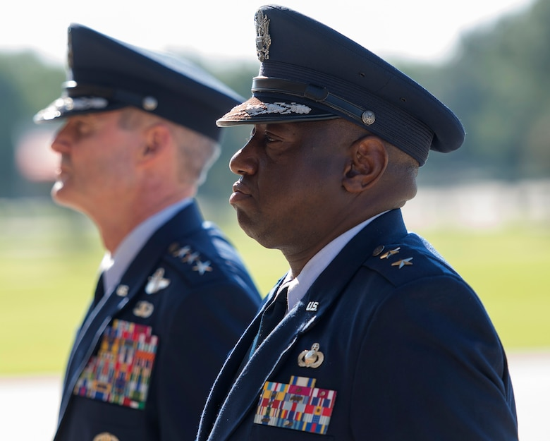 Lt. Gen. Darryl Roberson, commander, Air Education and Training Command, and Maj. Gen. Mark Brown, outgoing 2nd Air Force commander, look on during the 2nd AF change of command ceremony at the Levitow Training Support Facility Aug. 26, 2016, on Keesler Air Force Base, Miss. Brown, who will become the AETC vice commander at Joint Base San Antonio-Randolph, Texas, is replaced by Maj. Gen. Bob LaBrutta, who was previously the 502nd Air Base Wing and Joint Base San Antonio, Texas, commander. (U.S. Air Force photo by Andre Askew/Released)