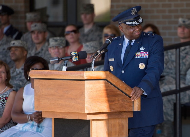 Maj. Gen. Mark Brown, outgoing 2nd Air Force commander, delivers remarks during the 2nd AF change of command ceremony at the Levitow Training Support Facility Aug. 26, 2016, on Keesler Air Force Base, Miss. Brown, who will become the Air Education and Training Command vice commander at Joint Base San Antonio-Randolph, Texas, is replaced by Maj. Gen. Bob LaBrutta, who was previously the 502nd Air Base Wing and Joint Base San Antonio, Texas, commander. (U.S. Air Force photo by Andre Askew/Released)
