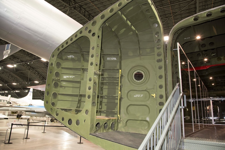 DAYTON, Ohio -- Fairchild C-82 Packet rear door in the Global Reach Gallery at the National Museum of the United States Air Force. (U.S. Air Force photo by Ken LaRock)