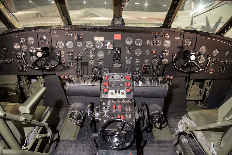 DAYTON, Ohio -- Fairchild C-82 Packet cockpit in the Global Reach Gallery at the National Museum of the United States Air Force. (U.S. Air Force photo by Ken LaRock)