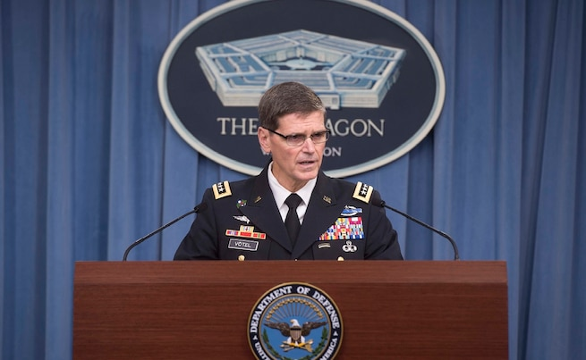 WASHINGTON (Aug. 3, 2016) Gen. Joseph L. Votel, Commander, United States Central Command, briefs reporters at the Pentagon, Aug. 22. (DoD photo by Navy Petty Officer 1st Class Tim D. Godbee) (Released)
