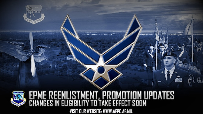 Airmen have 12 months from notification to complete their enlisted professional military education distance learning course. Airmen notified in 2015 need to complete their EPME DL courses by the new policy implementation date or they will be ineligible to reenlist, extend or promote. (U.S. Air Force graphic by Staff Sgt. Alexx Pons)