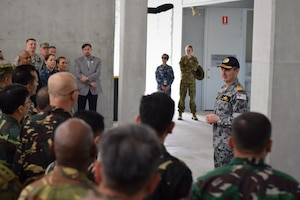 Royal Australian Navy Vice Adm. David Johnston, chief of joint operations, addresses participants at the Pacific Endeavor 2016 exercise in Brisbane, Australia, Aug. 23, 2016. Sponsored by U.S. Pacific Command and hosted by the Australian Defence Force, Pacific Endeavor 2016 is a multinational workshop designed to enhance communication interoperability and expedite humanitarian assistance and disaster relief response in the Indo-Asia Pacific region. The workshop involved 250 participants from 22 allied and partner nations. DoD photo by Air Force Master Sgt. Todd Kabalan