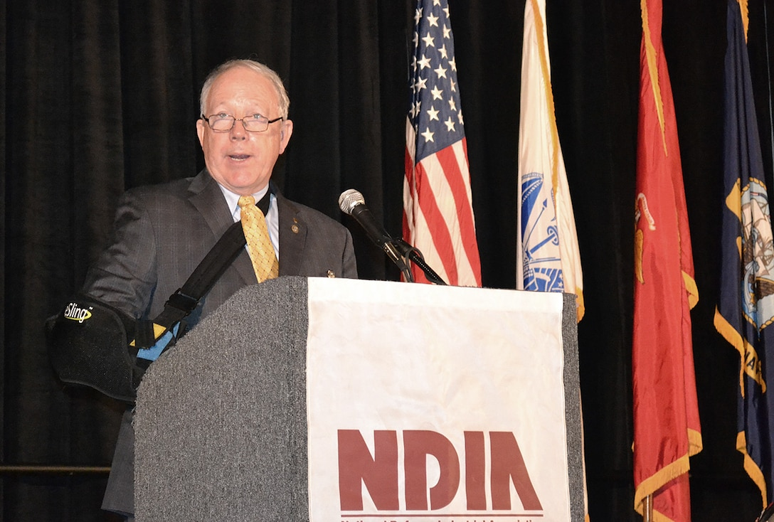Acting DLA Land and Maritime Commander James McClaugherty describes tells industry representatives their expertise is a critical part of the agency's ability to meet warfighters' needs Aug. 30 during the DLA Land and Maritime Supplier Conference and Expo in Columbus, Ohio.